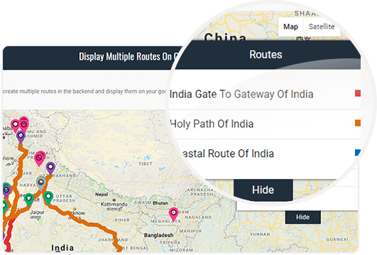 Display Multiple Routes On Google Maps WordPress plugin