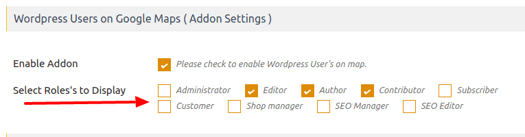 Display Only selected WordPress user roles in map Wpmapspro